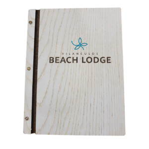 Custom Made White Washed Wooden Menu Cover With UV Print