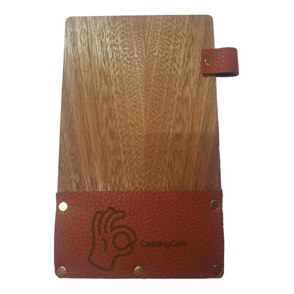 Dark Oak Wooden Bill Folder With Pen Slot And Engraved Leather Pocket