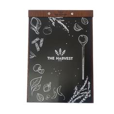 A4 Dark Wood Menu Board With Laser Engraved Mounting Tab