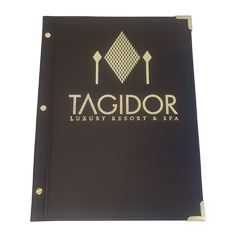 A4 Leatherette Brown Menu Cover With Gold Foil Logo And Fitting