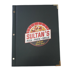 A4 Leatherette Ex-Stock Menu Cover With Uv Printed Logo