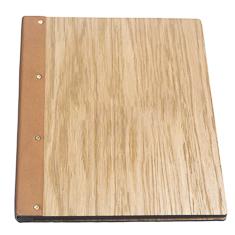 A4 Wrap Around Light Oak Wooden Menu Cover Menu Folder