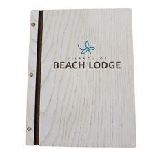 A4 Wooden White Washed Menu Folder With Printed Logo - Menu Covers