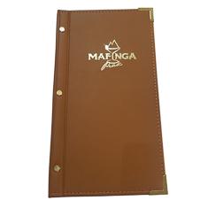 Slimline Tan Leatherette Folder With Gold Foil Logo - Menu Cover Suppliers