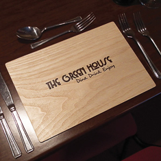 Light Oak Wooden Placemat With Laser Engraving - Custom Restaurant Placemats